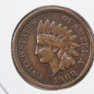 1908-S Indian Head Penny.  Nice Lower Minted Coin.  Very Fine + Condition. Store #8335.
