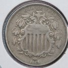 1866 Shield Nickel.  Very Fine Circulated Coin.  Store Sale #8409