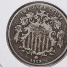1869 Shield Nickel. Very Good Circulated Coin.  Store Sale # 8413
