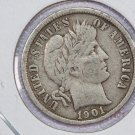 1901 Barber Dime.  Nice Fine Circulated Coin.  Store Sale #8515