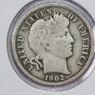 1902 Barber Dime.  Very Good Circulated Coin.  Store Sale #8521