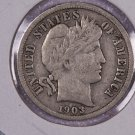 1903 Barber Dime,  Very Good Circulated Coin.  Store Sale #2527.