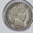 1906 Barber Dime.  Very Good Circulated Coin.  Store Sale #8543.