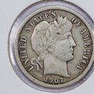 1907 Barber Dime.  Very Fine Circulated Coin.  Store Sale #8551