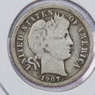 1907-O Barber Dime. Very Good Circulated Coin.  Store Sale #8553.