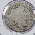 1907-D Barber Dime.  About Good Circulated Coin.  Store Sale # 8555