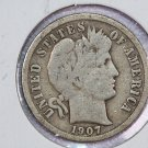 1907-S Barber Dime.  Very Good Circulated Coin.  Store Sale #8557