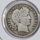 1908-D Barber Dime. Very Good Circulated Coin.  Store Sale # 8563