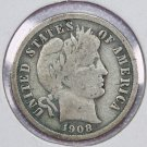 1908-S Barber Dime.  Very Good Circulated Coin.  Store Sale #8567
