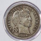 1909 Barber Dime. Very Fine Circulated Coin.  Store Sale #8569