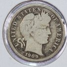 1909-D Barber Dime.  Very Good Circulated Coin.  Store Sale #8573