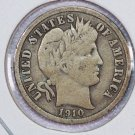1910 Barber Silver Dime.  Very Good Circulated Coin.  Store Sale #8575