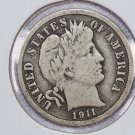1911-S Barber Dime.  Fine Circulated Coin.  Store Sale # 8585.