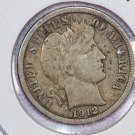 1912-D Barber Silver Dime.  Very Fine Circulated Coin.  Store Sale #8589.