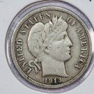 1913 Barber Dime.  Very Fine Circulated Coin.  Store Sale #8591.