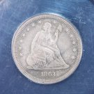 1863 Seated Quarter.  Civil War Years. ANACS Certified, VF-20 Details.  Harder Date.