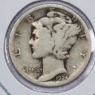 1924-S Mercury Silver Dime.  Good Circulated Coin.  Store Sale # 8626