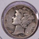 1940-D Mercury Silver Dime.  Very Good Circulated Coin. Store Sale #8706