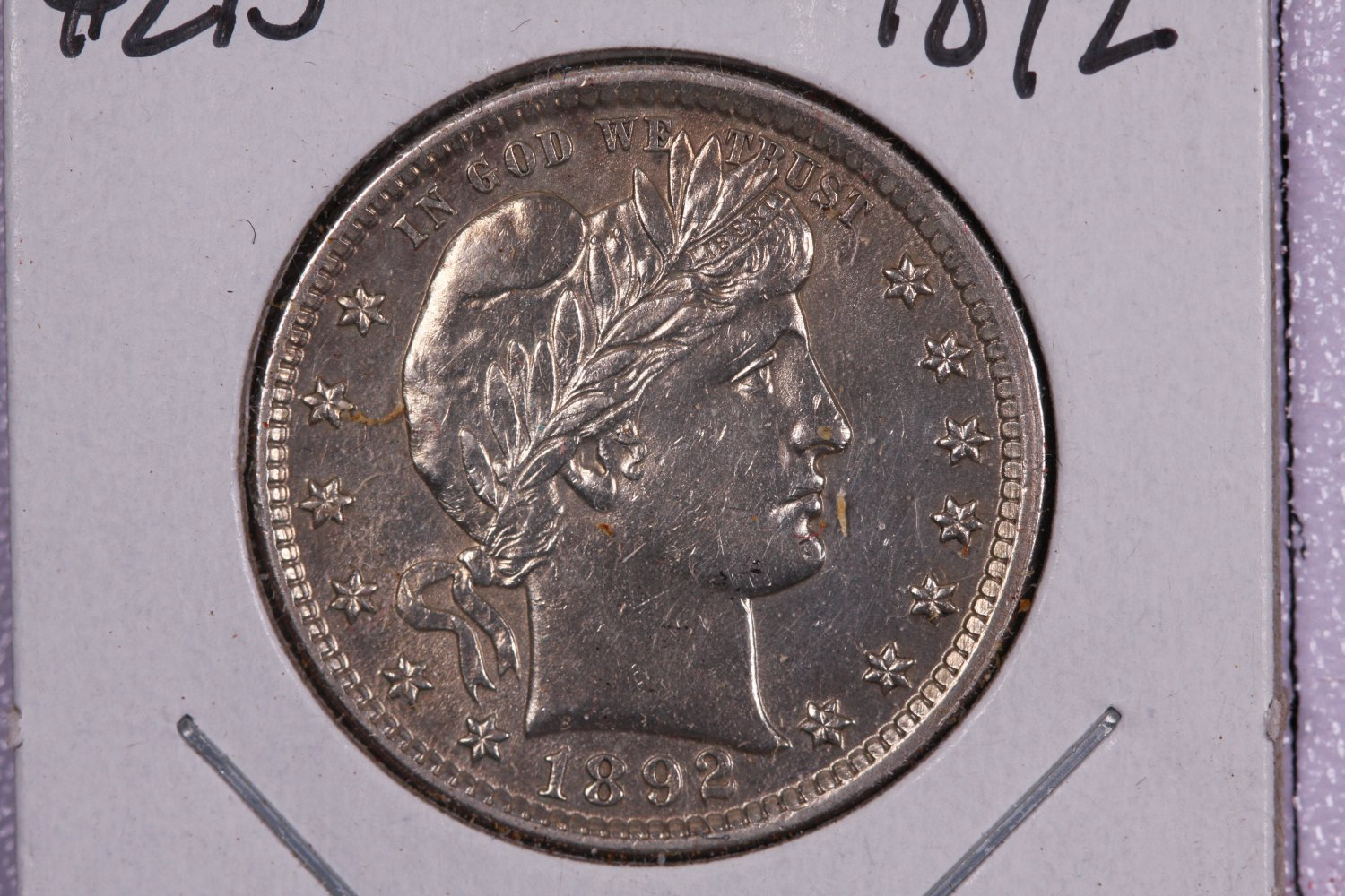 1892 25C Barber Silver Quarter.  Nice About UN-Circulated Coin.  Store Sale# 8900