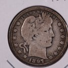 1897 Barber Quarter.  Very Good Circulated Coin.  Store Sale #8932.