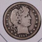 1907 Barber Quarter.  Very Good Circulated Coin.  Store Sale #6986.