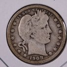 1908-D Barber Quarter.  Very Good Circulated Coin.  Store Sale #8998.