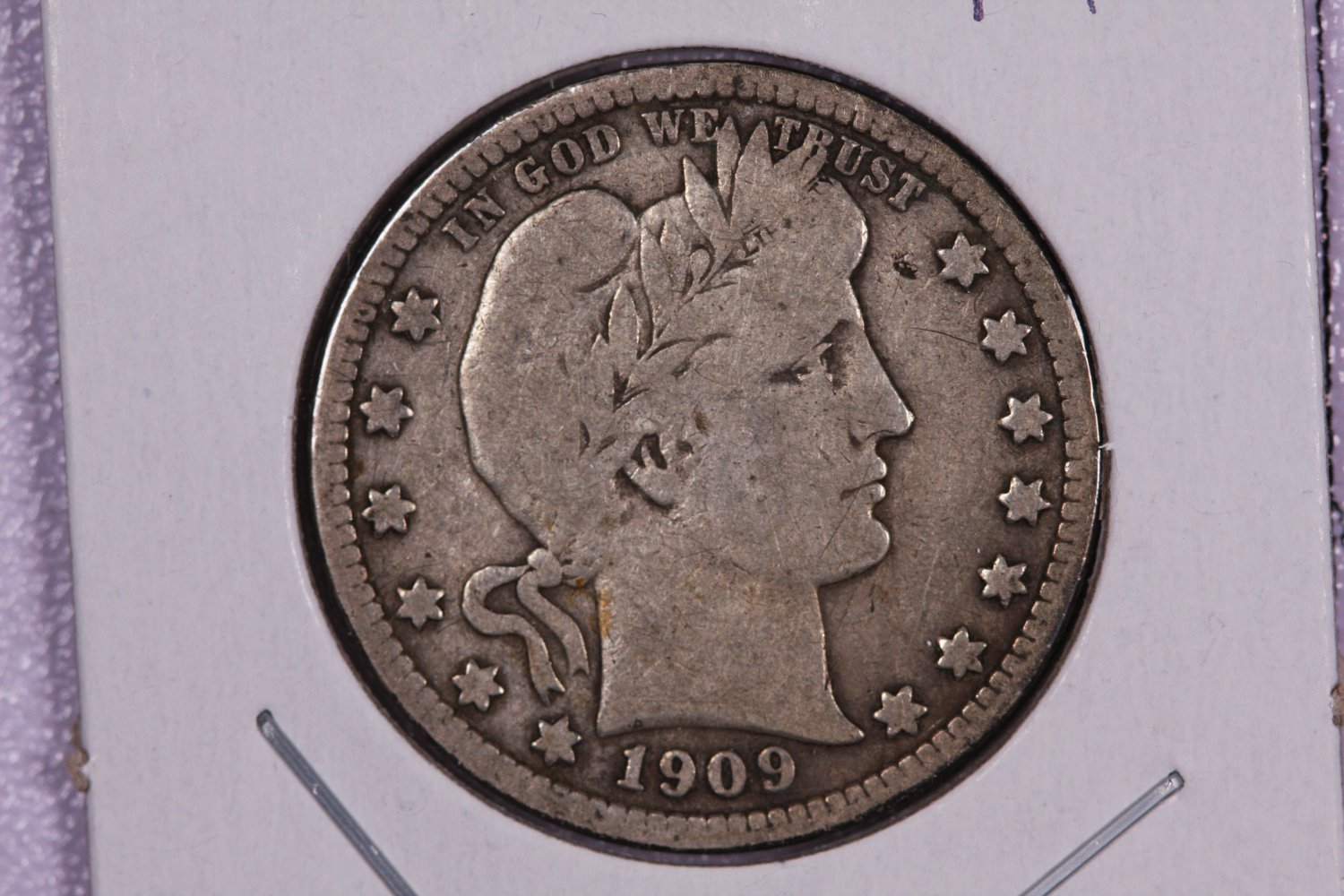 1909-D Barber Quarter.  Very Good Circulated Coin.  Store Sale 9010.