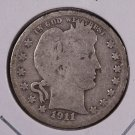 1911-D Barber Quarter.  Good Circulated Coin.  Store Sale #9020.