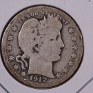1912 Barber Quarter.  Good Circulated Coin.  Store Sale #9026.