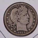 1913-D Barber Quarter.  Very Good Circulated Coin.  Store Sale 9032.