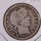 1914-D Barber Quarter.  Very Good Circulated Coin.  Store Sale #9038.