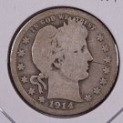 1914-S Barber Quarter.  Good Circulated Coin.  Store Sale #9040.