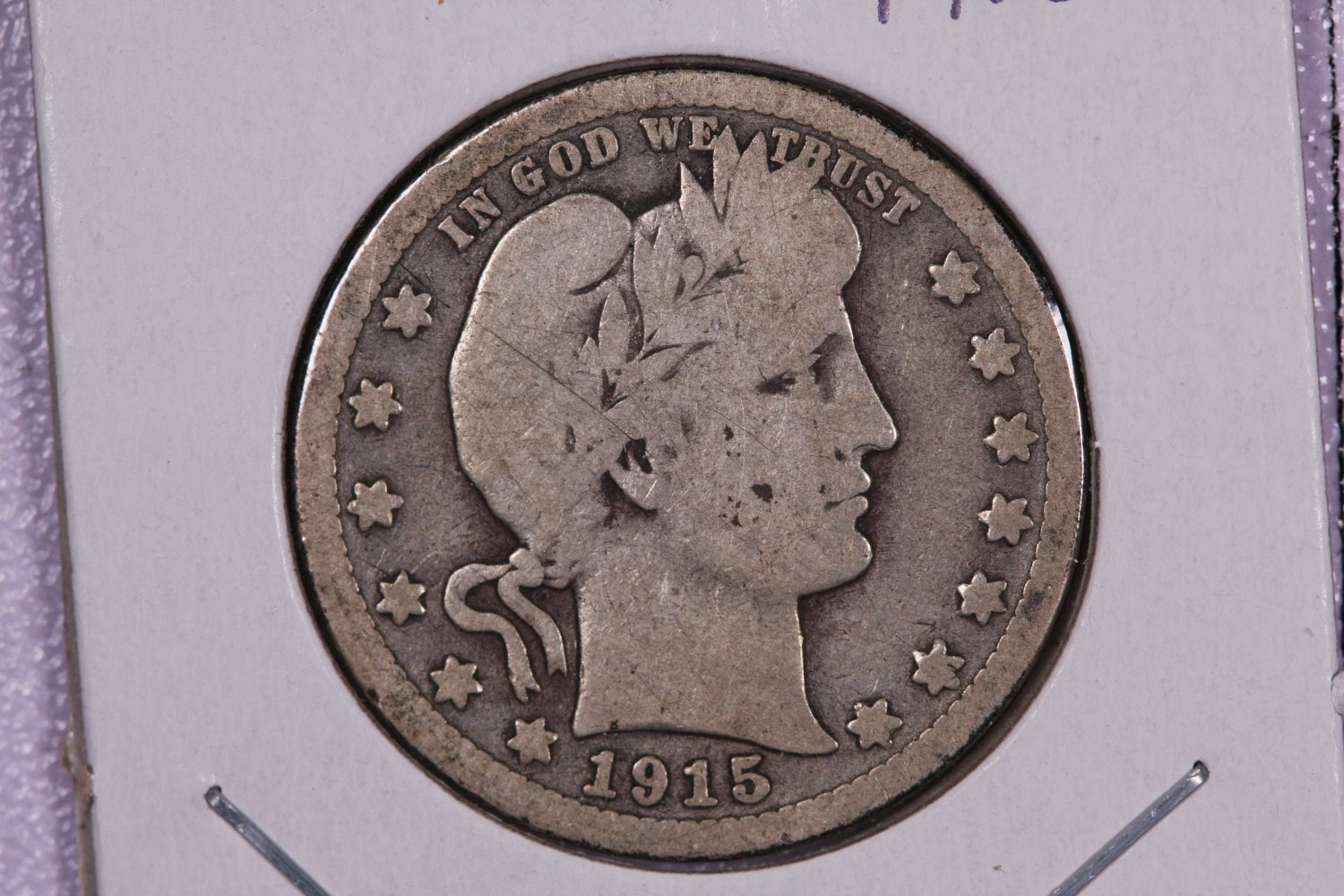 1915-S Barber Quarter.  Good Circulated Coin.  Store Sale #9048.