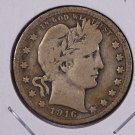 1916 Barber Quarter.  Very Good Circulated Coin.  Store Sale #9050.