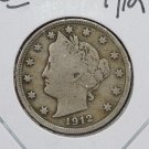 1912 Liberty Nickel.  Very Good Circulated Coin.  Store Sale #9076.