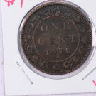 1876-H Canada, Large Cent. Very Good Circulated Coin.  Store Sale #9273.