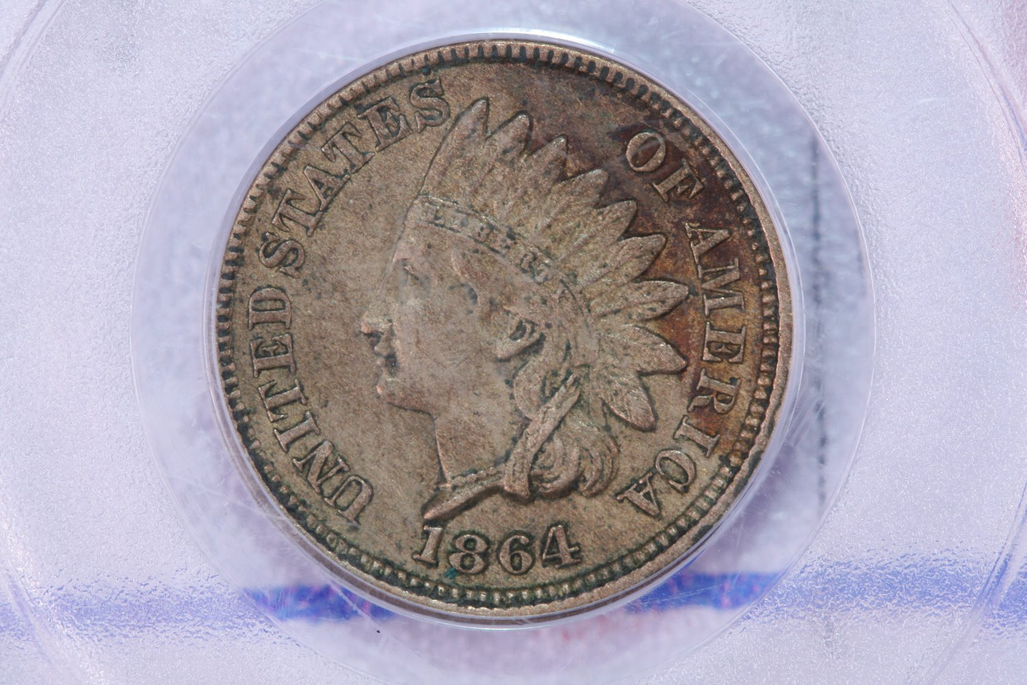 1864 Indian Head Penny, Copper Nickel. Affordable Graded Coin.  PCGS XF-45.