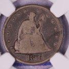 1875-CC Twenty Cent Piece, Seated Liberty.  CARSON CITY.  NGC Graded:  VG-8.