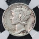 1942/41 Mercury Dime.  Nice Bold Over-Date. NGC Graded VF-35. Pleasing Eye Appeal.