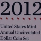 2012 United States Mint, Annual Uncirculated Dollar Coin Set.  Low Mintage.