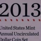 2013 United States Mint Annual UN-Circulated Dollar Coin Set.  Original Packing.