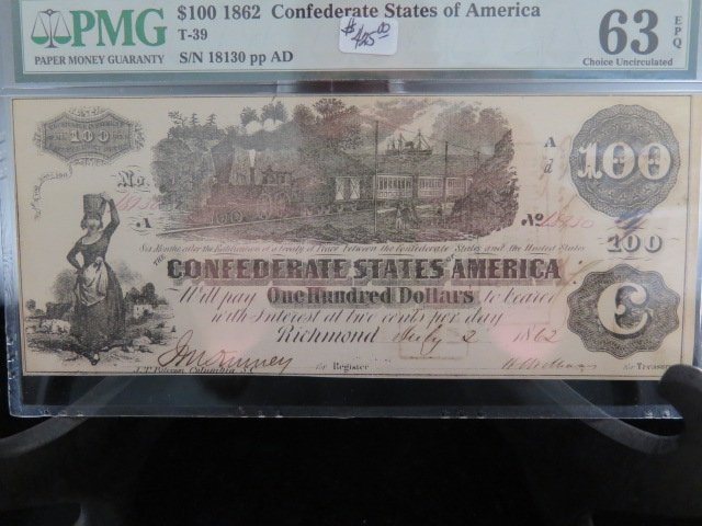 $100 Confederate States Of America, Currency. T-39.  RARE GRADE.  PMG-63 EPQ.