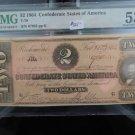 1864 Confederate States Of America, Currency, $2 Bill, T-70. Ser #67863, PMG AU-53.