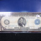 1914 $5 Federal Reserve Note. Nice Color/Fiber. Large Size. Affordable Early Bill.