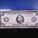 1914 $20 Federal Reserve Note. Nice Color/Fiber. Large Size. Affordable Early Bill.