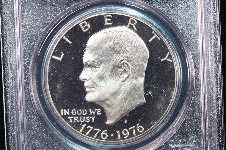 1976-S Eisenhower Dollar. Clad, Type 2,  Proof,  PCGS PF-69.