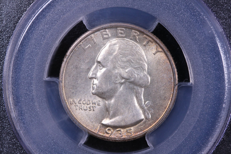 1935-S Washington Silver Quarter.  Nice Coin. PCGS AU-55.