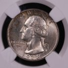 1938 Washington Silver Quarter.  NGC Graded, Mint State 64.