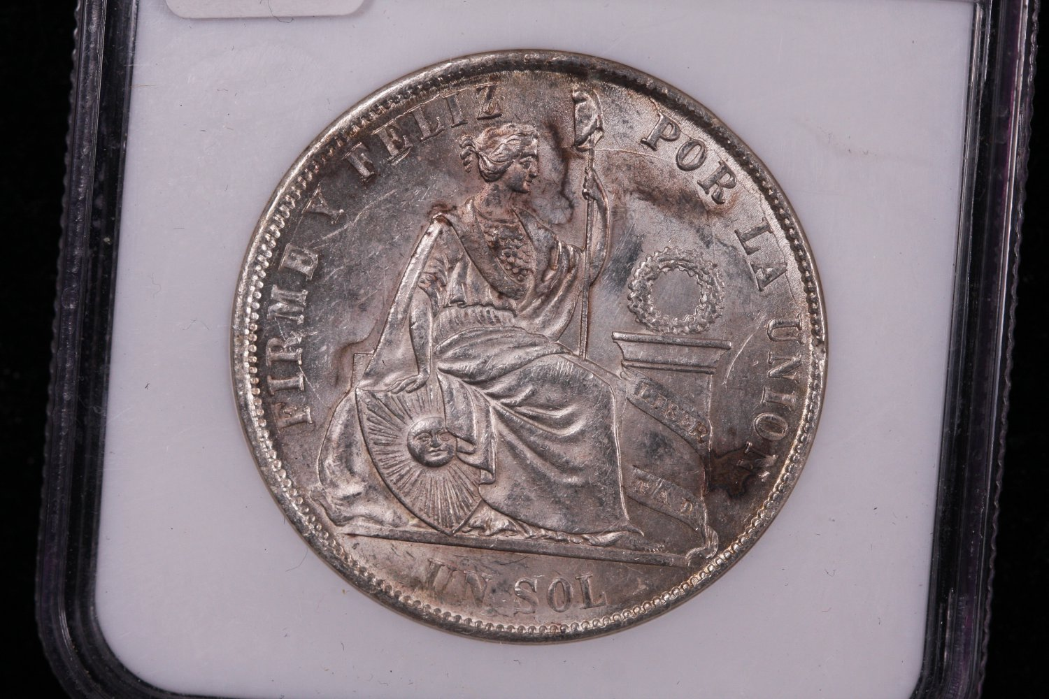 1870 YJ Peru SOL, Nice Early Date Coin. NGC Graded, MS-62.