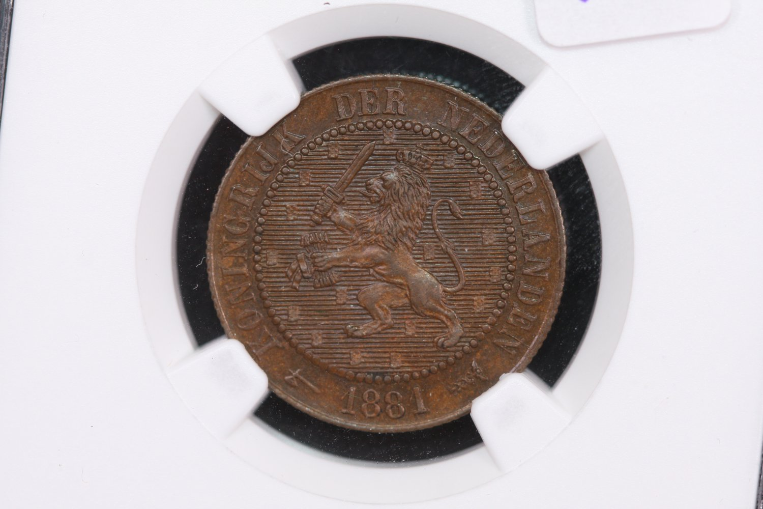 1881 Netherland, 2 1/2 Cent. NGC MS 63 Brown.
